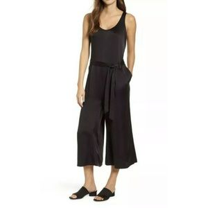 Eileen Fisher Black Silk Cropped Jumpsuit